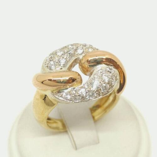 Anello oro zirconi nodo piano