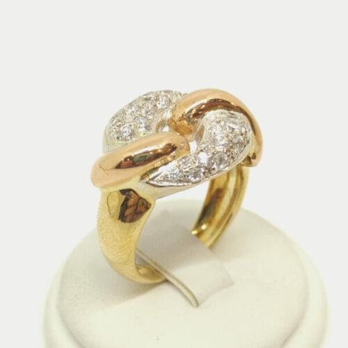 Anello oro zirconi nodo piano1