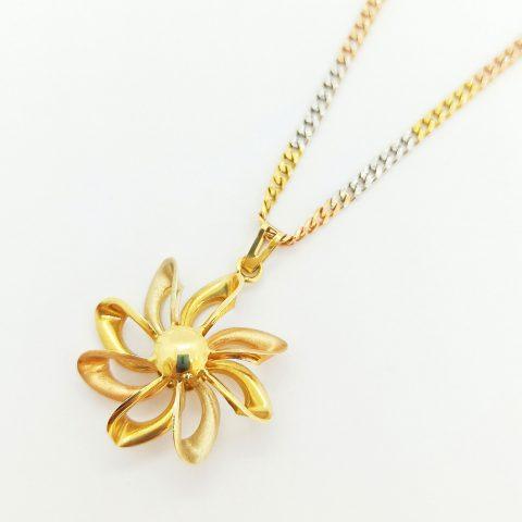collana oro tricolore fiore jesi