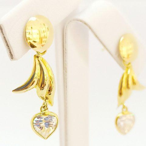 orecchini pendenti oro giallo zircone cuore jesi 1