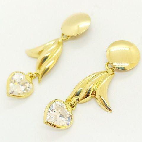 orecchini pendenti oro giallo zircone cuore jesi 2